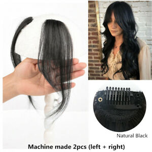 Natural Straight  Side Bang Fringe Hair Middle Part Clips Hairpiece Extension