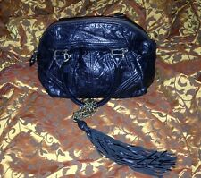 Juicy Couture Black Leather with Tassel Fob Purse, Handbag, Shoulder Bag