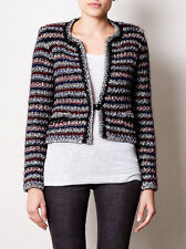 Chic Isabel Marant SZ 42/10 BARTE Striped Multi Color Boucle Jacket Sweater