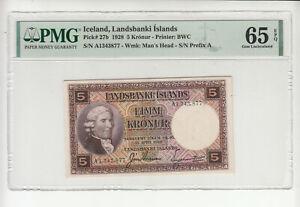 Iceland 5 kronur 1928 UNC p27b PMG65 @ low start