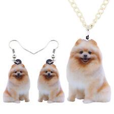 Acrylic Cute Pomeranian Dog Jewelry Set Earring Necklace For Women Kid Pet Gifts