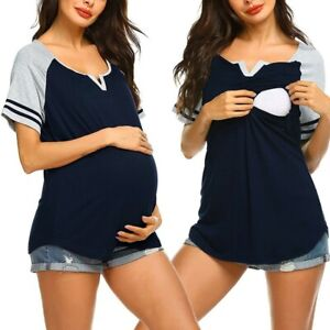 Women Maternity Short Sleeve Nursing Tops T-shirt Breastfeeding Blouse Plus C98