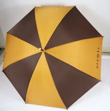 Vintage 80s Aramis Leather Handled Outdoor Rain Umbrella Two Tone Brown Gold