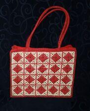 vintage shopping hand bag red white weaving on plastic frames