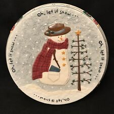 Snowman Cake Plate Stand Let It Snow Holiday Pedestal Make the Season Bright