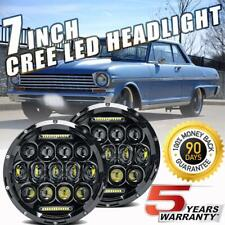 7 inch Round Black Cree Led Headlights Turn DRL for Chevrolet Chevy II 1963-1968
