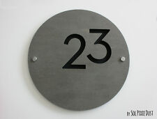 Modern House Numbers,Concrete & Black Acrylic- Sign Plaque - Door Number Round