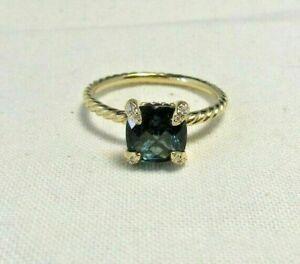 DAVID YURMAN Hampton Blue Topaz & Diamond 18K Yellow Gold Chatelaine  Ring Sz 6