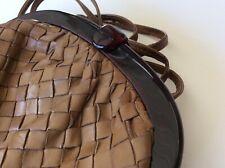 Vtg BOTTEGA VENETA Brown Woven Leather INTRECCIATO PURSE CLUTCH w/ Dust Bag **