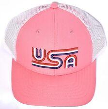 USA Rowdy Gentleman Tri-Line Pink Mesh Hat Cap Adjustable To Good Times   f086367d330b