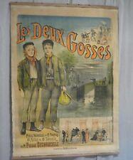affiche américaine originale les deux gosses lithographie couleurs Lévy 1895