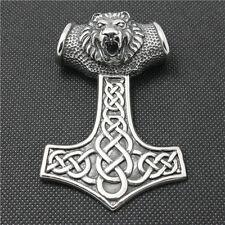 Anhänger XXL Thorhammer Thor Hammer mit Löwenkopf Mjölnir Wikinger Odin NA25