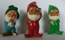 "Vintage Handmade Gnomes Elves Pixies Lot of 3 Ceramic Figurines 5"" Korea Happy"