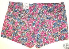 New NWT SO size 17 multicolor floral print cotton flat front denim shorts