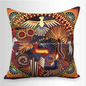 sofa with pillow case Mexican Huichol folk art inspired cushion cover