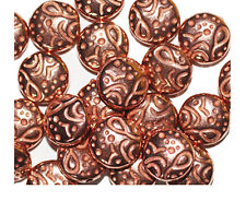 Lentil Crater 10mm Shiny Bright Copper Metalized Metallic Beads