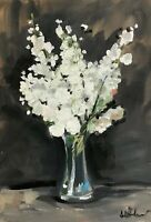 Print of Original oil painting art flowers blossom impressionism shabby chic