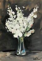 Print of Original oil painting art flowers blossom impressionism shabby chic