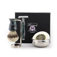 Barber Shaving Kit Men's Double Edge Razor, Badger Hair Brush Stand Soap Bowl 5X