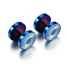 1 Pair Blue Stainless Steel Tornado Pattern Mens Boy's Round Stud Earrings