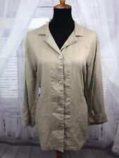 Chicos Design Womens Button Down Shirt 100% Linen Lagenlook Sz 2 Large 12