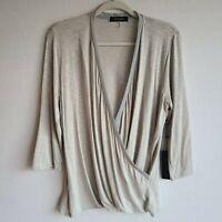 Laila Jayde Stitch Fix Gray Wrap Style Long Sleeve Blouse Top Sz XL New
