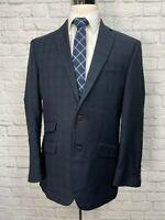 VAN HEUSEN Men's Navy Blue Plaid Sport Coat Blazer 40R