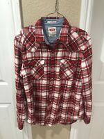 Levis Mens Red Plaid Standard Fit Western Pearl Snap Long Sleeve Shirt M
