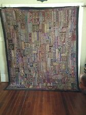 "Antique INDIAN PATCHWORK TAPESTRY 97"" x 80""  Embroidered WALL HANGING KATCHI Rug"