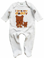 """Dirty Fingers Baby Sleep suit Gift """"I Love My Daddy"""" Teddy Bears Father's Day"""