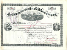 Wilmington & Northern Rail Road Company Stock Certificate 1899 Henry A duPont