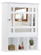"""Bathroom Wall Mirrored Medicine Cabinet Wall Mount White Wood Unique 24"""" x 20"""""""