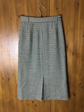 LAIRD PORTCH 100% WOOL PENCIL SKIRT Black & White Dogtooth Check Calf UK 8 / 36