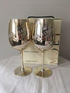 Moet & Chandon Glasses Gift Set Champagne Gold Colour Two Glasses Bar Classy