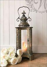 SUPPORTO Lanterna Tè Leggero Candela Giardino Stile Antico Francese Rame Vintage