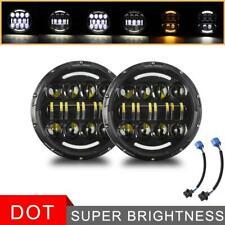 "2PCS 7"" INCH 600W LED Headlights Halo Projector For Jeep Wrangler CJ JK LJ 97-18"