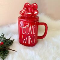 New Rae Dunn Love Wins Red Topper Mug - Valentine's Day 2021 Online Exclusive
