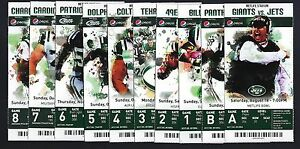2012 NFL NEW YORK JETS FULL FOOTBALL TICKETS ENTIRE HOME SEASON - BUTT FUMBLE