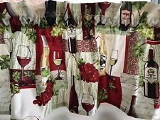 NEW Vineyard Wine Country Bottles  & Glasses  Patchwork Valance Curtain