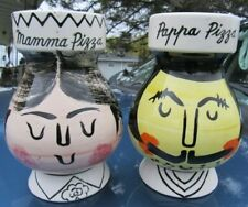 VINTAGE MAMMA PAPPA CHEESE SHAKER PAIR CHEF SET PIZZA ART KITCHEN BITOSSI ITALY?