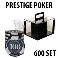 Prestige Poker Chips 600 Poker Chip Set with Acrylic Carrier and Racks