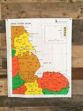 VINTAGE RNIB BRAILLE RELIEF MAP OF CENTRAL EASTERN ENGLAND SCHOOL BLIND POSTER