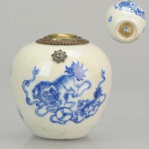 Antique Chinese Porcelain 19th century Bleu de Hue Water Pipe Vietnamese market