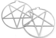 Killstar Silver Pentagram Hoop Earrings Stainless Steel NEW Goth Satanic Occult