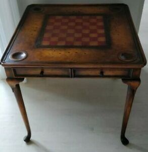 France&Son Game Table with Chess Leather Board and Drawers Wood Antique Style