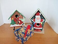 Lot of 3~Christmas Birdhouses (2) and Gingerbread w/ Flag Tin Container~Santa