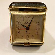 Vintage Marcel Quartz Folding Travel Alarm Clock - Japan Suitcase Size Black Box