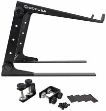 Odyssey LSTAND Black Adjustable DJ Laptop/Gear Stand +Case/Table Clamps L-Stand