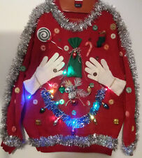 Ugly Tacky Light Up Christmas Sweater Size X-Large Hand Decorated