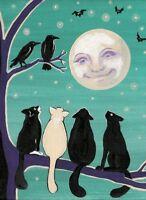 PRINT OF PAINTING RYTA TUXEDO BLACK CAT FOLK ART ABSTRACT CROW HALLOWEEN RAVEN